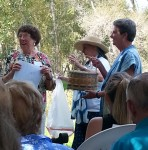 Presentations--Eunice, Annie, and Donna (with Linda Lugenbill's basket)